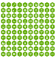 100 business group icons hexagon green vector