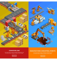 Robotic conveyor line 2 isometric banners vector