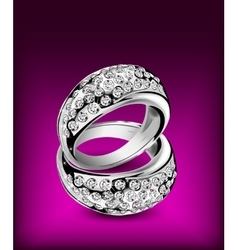 Silver rings with some diamonds vector image