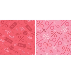 Sale and percentage signs two seamless pattern vector