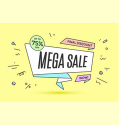Ribbon banner with text mega sale vector