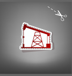 Oil drilling rig sign  red icon with for vector