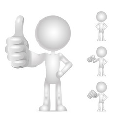Character 3d blank fist pointing finger thumb up vector