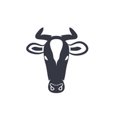 cow head silhouette vector image