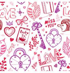 Happy valentines day cute doodle pattern with vector