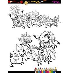 running fruits set cartoon coloring page vector image