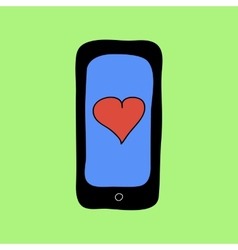 Doodle style phone with red heart vector image