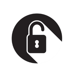 Black icon with open padlock and stylized shadow vector