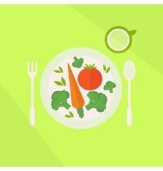 Plate with vegetables and glass of juice vector