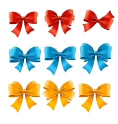 Satin colorful bow set vector