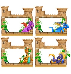 Frame design with dragon and castle vector