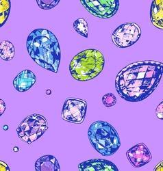 Hand drawn precious stones vector image