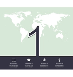 Number 1 design infographic with world map vector