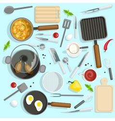 Chef workplace top view set vector