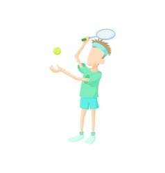 Young man playing tennis icon cartoon style vector