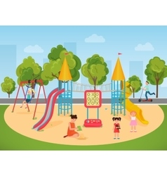 Kids children playing in the playground vector