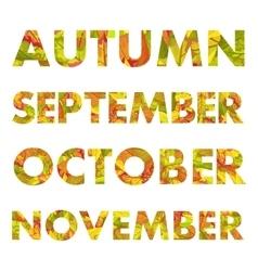 Autumn months names vector