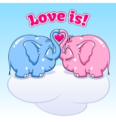 baby elephant in love on the cloud vector image vector image