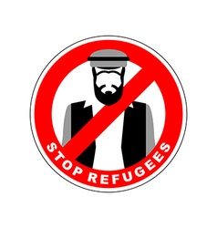 Ban immigrants stop refugee red forbidding vector