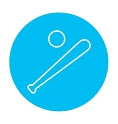 Baseball bat and ball line icon vector image