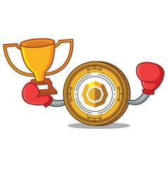Boxing winner komodo coin mascot cartoon vector