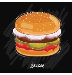 Burger isolated on black background vector image vector image