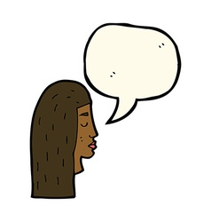 cartoon female face profile with speech bubble vector image vector image