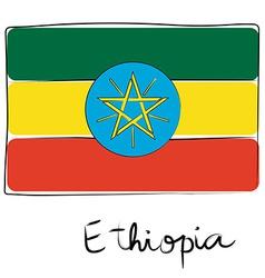 Ethiopia flag doodle vector