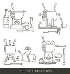 Fondue line icons isolated vector