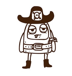 Hand drawn alien in sheriffs costume vector