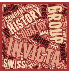 History of Invicta Watch text background wordcloud vector image