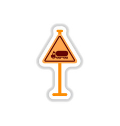 in paper sticker style warning vector image vector image