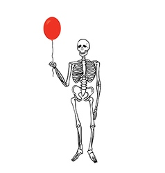 Joyful skeleton that keeps the balloon vector image vector image
