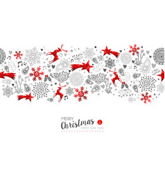 merry christmas new year red decoration pattern vector image vector image