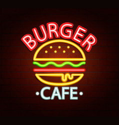 neon sign of burger cafe vector image vector image