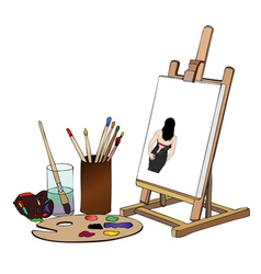 Painting of woman with black dress vector image vector image