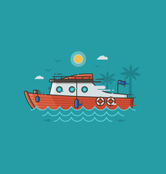 Red yachting boat on water vector