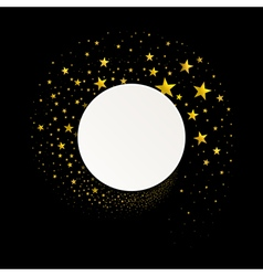 Round banner with a stream of gold stars vector