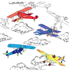 Seaml colors airplanes-01 vector
