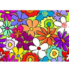 Seamless busy flower pattern 2 vector image vector image