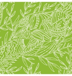 Seamless hand drawn pattern with leaves vector image