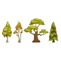 Set of four trees pine birch oak aspen vector