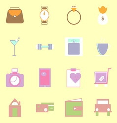 Simple lifestyle color icons on yellow background vector image
