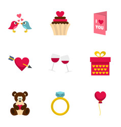 Valentine day and wedding icons set flat style vector