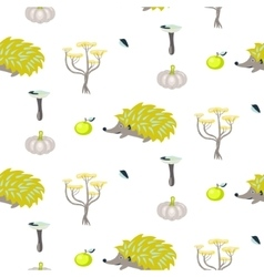 Green and gray urchin fall seamless pattern vector image