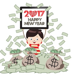 Happy new year 2017 successful business man under vector