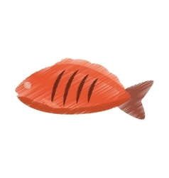 hand colored drawing fish icon vector image