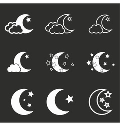 Moon star icon set vector