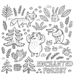 Hand drawn set with animals in outline vector