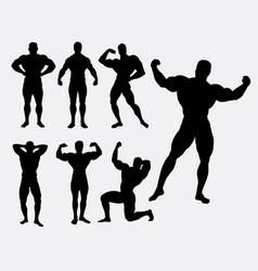 Body building male sport silhouette vector